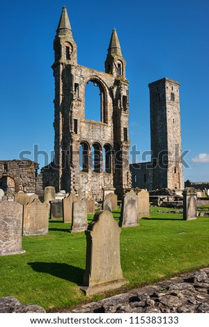 Tombstones and ruins of St. Andrews Cathedral, Scotland, United Kingdom - stock photo