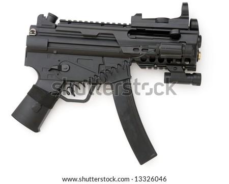 tommy gun. submachine gun on a white background - stock photo