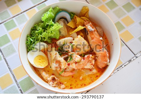 Tomyum noodle with seafood - stock photo