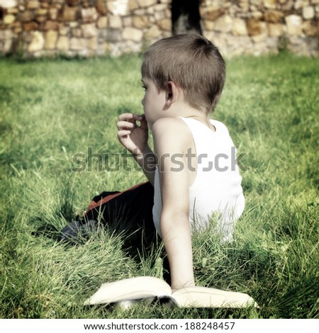 Toned photo of Bored Kid with a Book on the Summer Meadow - stock photo