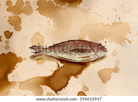 Toned watercolour fish on white background - stock photo