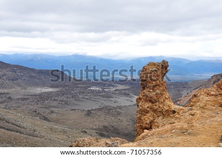 tongariro park landscape, volcano Ngauruhoe, New Zealand - stock photo