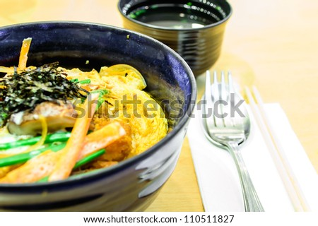 Tonkatsu with rice and egg, Japanese food style. - stock photo