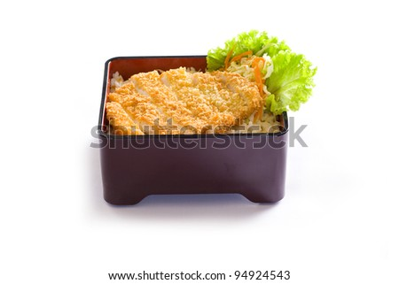 Tonkatsu with rice or aka fried pork cutlet - stock photo