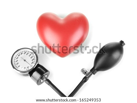 Tonometer and heart isolated on white - stock photo