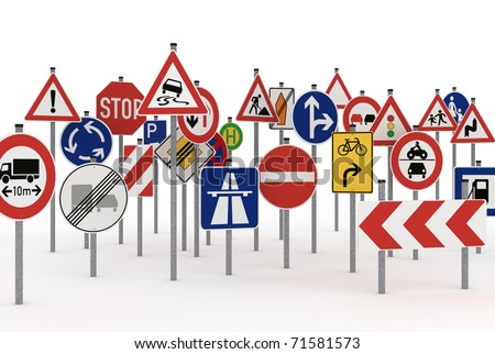 Too many traffic signs on white background - stock photo