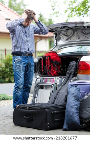Too much baggage to take on a trip - stock photo