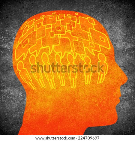 too much speaking concept digital illustration orange on black - stock photo