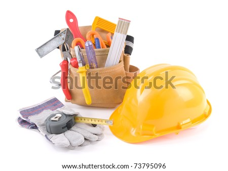 Tool belt and yellow helmet isolated on white - a series of CONSTRUCTION IMAGES. - stock photo