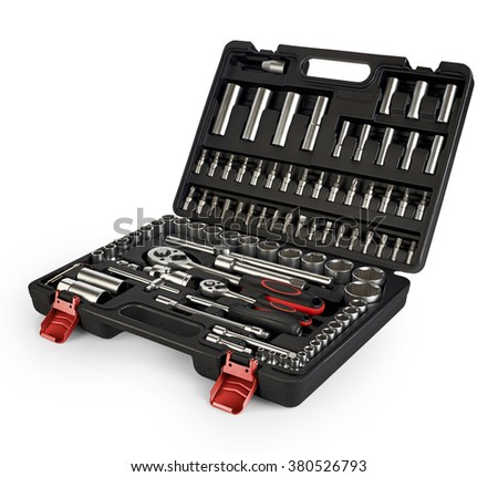 Tool box, set of wrenches and bits isolated on white background. Tools kit.  - stock photo