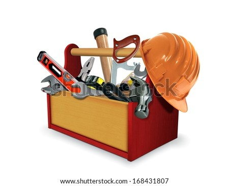 Tool Box with Tools - stock photo