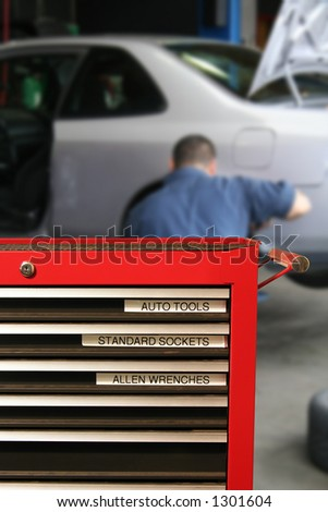 Tool cabinet at the mechanics - stock photo