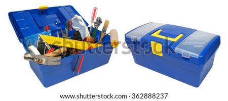 Tool kit in blue box. Isolated on white background - stock photo