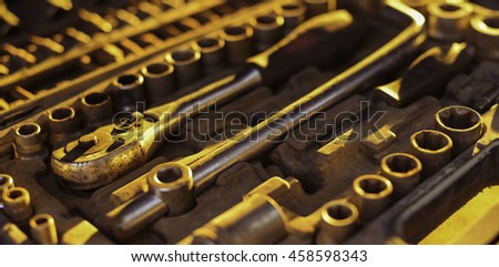 tool mechanical keys and various accessories in a set of locksmith - stock photo