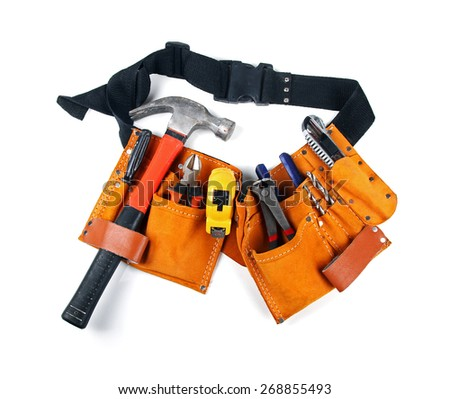 toolbelt with various tools isolated on white - stock photo