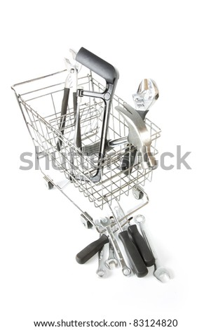 toolbox, many tools from toolbox inside and outside trolley. - stock photo
