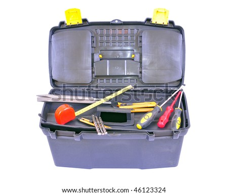 Toolbox with several different tools, isolated on white with clipping path - stock photo