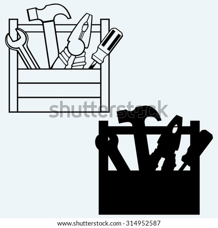 Toolbox with tools. Isolated on blue background. Raster version - stock photo