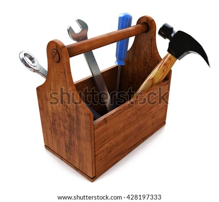 Toolbox with tools. Skrewdriver, hammer, handsaw and wrench. 3d in the design of the information associated with a request for repair. 3d illustration - stock photo