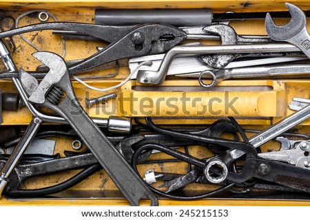 Toolbox with tools.  wrench - stock photo