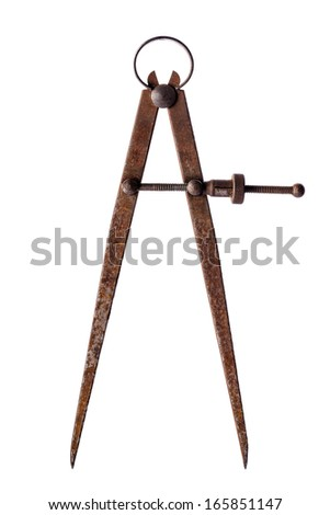 Tools: aged vintage calipers, isolated on white background - stock photo
