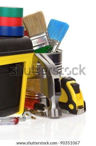 tools and construction toolbox isolated on white background - stock photo