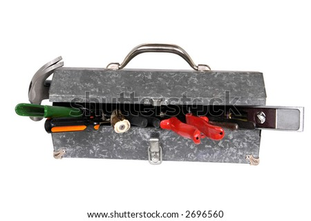 tools and 70s metal toolbox - stock photo