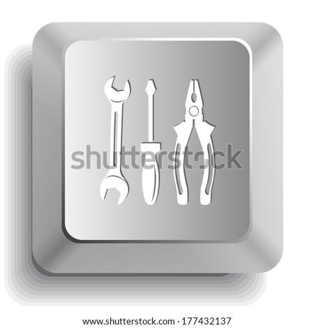 Tools. Computer key. Raster illustration. - stock photo