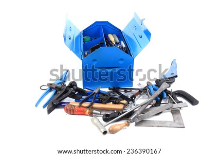 tools (equipment) from repairman isolated on the white background - stock photo