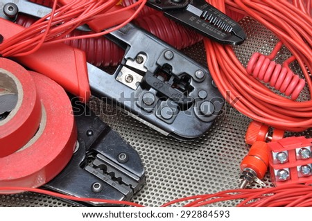 Tools for electricians crimpers and accessories - stock photo