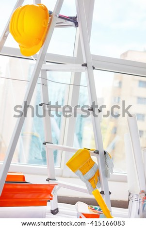 Tools for home renovation, set of a different instruments for house repair and interior design improvement, overhaul - stock photo