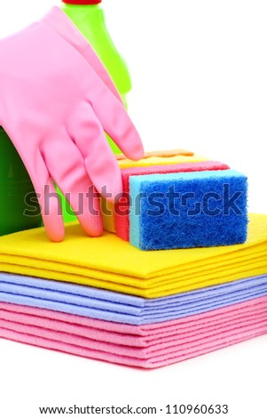 Tools for house cleaning on a white background. - stock photo