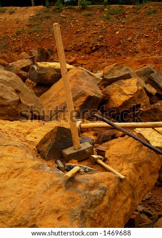tools for stone cutting - stock photo
