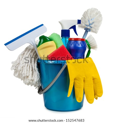 Tools for the guidance of cleanliness and order in the house - stock photo