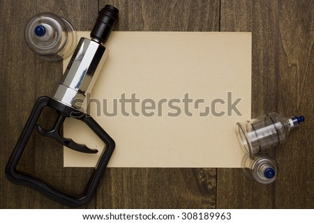 Tools for vacuum massage and procedures for lung disease. - stock photo