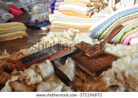 Tools for wool and wool - stock photo