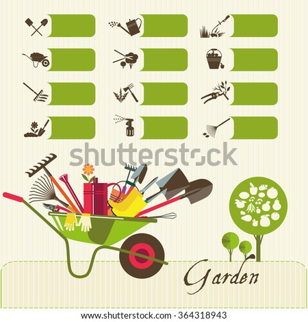 Tools for working in the garden.  Icons on the theme of organic farming. Symbols stages of cultivation of plants. - stock photo