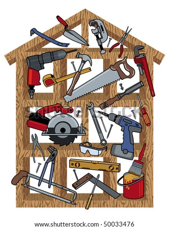 Tools in a wood frame house. - stock photo