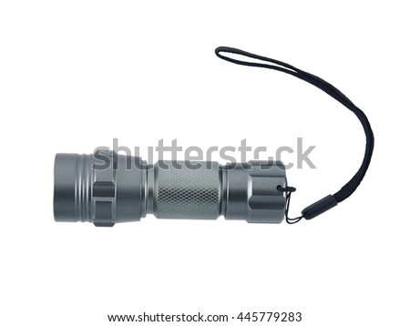 Tools industrial, Close up shot flashlight on isolate white background - stock photo