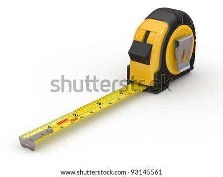 Tools. Measure tape on white background. 3d - stock photo