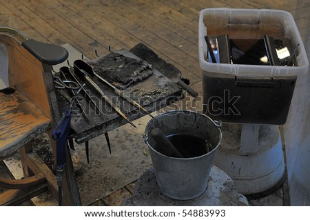 tools of a glassblower - stock photo