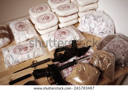 Tools of drug distributors - stock photo