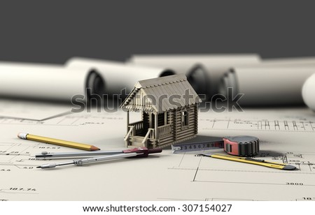 Tools of the architect and the wooden house on the sheets of drawings. 3d illustration. - stock photo