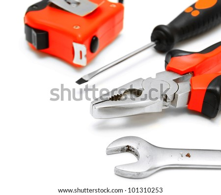 Tools. On a white background. - stock photo