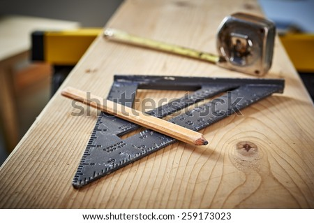 tools on a work bench  - stock photo
