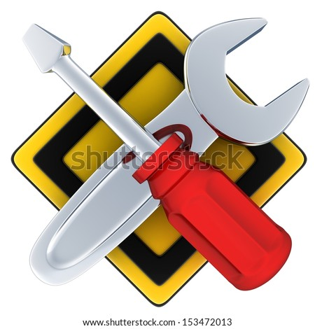 Tools, symbol repair (done in 3d, isolated)    - stock photo