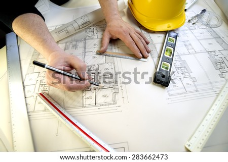 tools to design a new home - stock photo