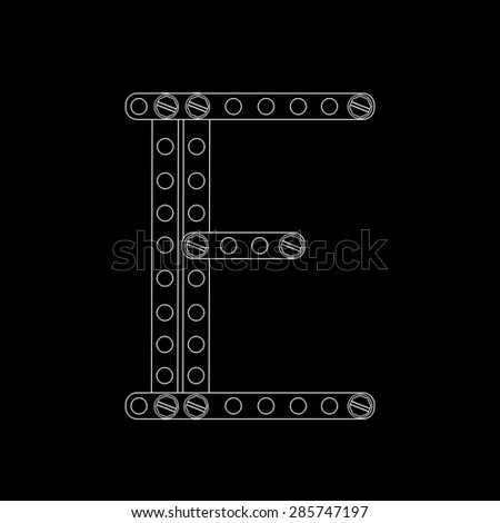 Toon letter (E) with rivets and screws isolated on black background  - stock photo