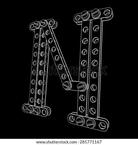Toon letter (N) with rivets and screws isolated on black background  - stock photo