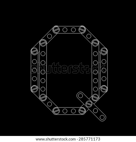 Toon letter (Q) with rivets and screws isolated on black background  - stock photo
